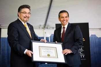 lópez joins lA MAYOR Anotonio R. Villaraigosa at The National Hispanic University's 30th anniversary celebration on February 24, 2012. As keynote speaker, Villaraigosa received an honorary doctoral degree recognizing his commitment to education. | Photo: Chris Schmauch, Goodeye Photography