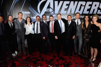 "(L-R) Actor Mark Ruffalo, Director Joss Whedon, actor Chris Hemsworth, Executive Producers Victoria Alonso and Louis D'Esposito, actor Robert Downey Jr., Executive Producer Jeremy Latcham, President of Production, Marvel Studios and producer Kevin Feige and actors Clark Gregg, Tom Hiddleston, Cobie Smulders and Scarlett Johansson attend the premiere of Marvel Studios' ""Marvel's The Avengers"" held at the El Capitan Theatre on April 11, 2012 in Hollywood, California.  (Photo by Alberto E. Rodriguez/WireImage)"