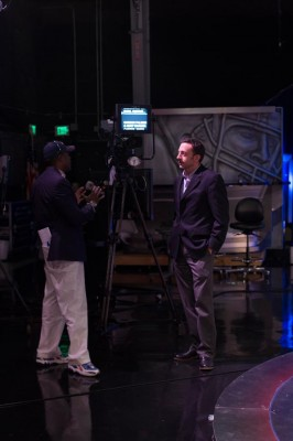 HR leader Andres Astralaga chats with stage manager Puma Nelson on the set of the NFL Network in Culver City, CA.