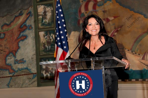 Then chairman of the board of the United States Hispanic Chamber of Commerce, Nina Vaca speaks during the organization's 2011 National Convention in Miami Beach. Vaca is now the chairman emeritus for the USHCC.