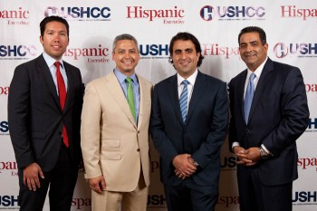L to R: Christopher Howe, Jamie Delgadillo of Northwestern Mutual, Pedro Guerrero, and Marc Rodriguez. Northwestern Mutual was HE's corporate sponsor for the event.