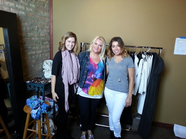Team from Evolve Chicago preparing wardrobe for the shoot.