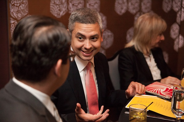 Northwestern Mutual Financial Advisor Jameson Delgadillo at dinner with Simon Lopez, President/CEO of HACE