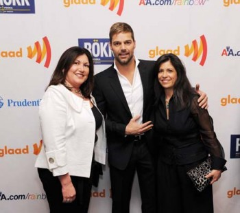 Duran and Pino with Ricky Martin at the GLAAD Media Awards.