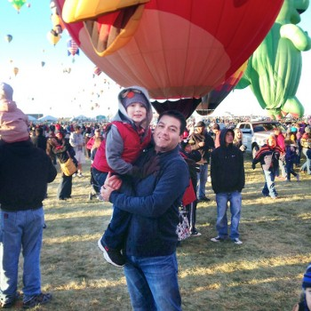 Lopez and his son Max at the Albuquerque International Balloon Fiesta, the world's premier hot air balloon event, near Lopez's hometown.