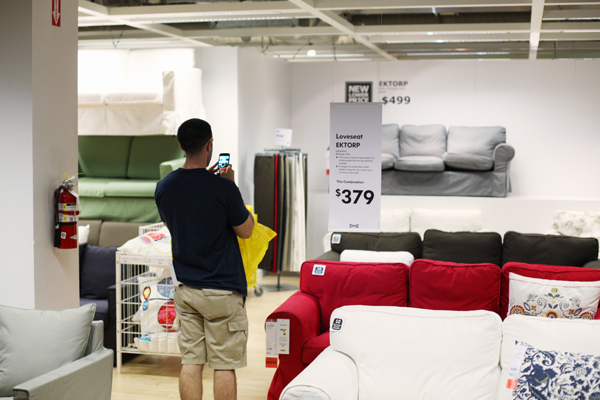 IKEA's mobile app allows customers to scan product barcodes in-store for prices, sizes, and colors. The scanner can also add or remove items from their shopping list and seamlessly find items in the self-serve warehouse.