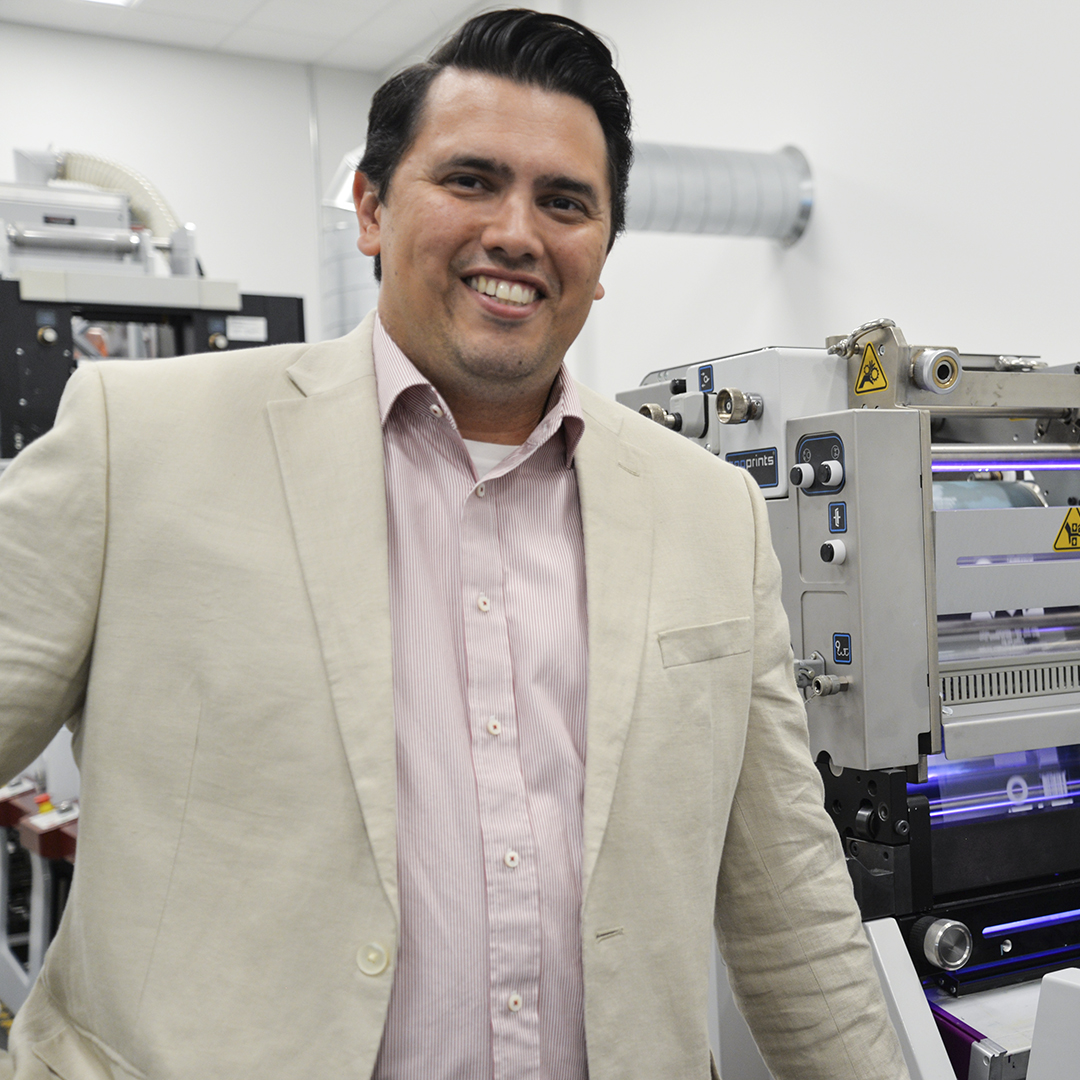 Dr Paulo Vieira, Flint Group, portrait manufacturing facilities background thumbnail