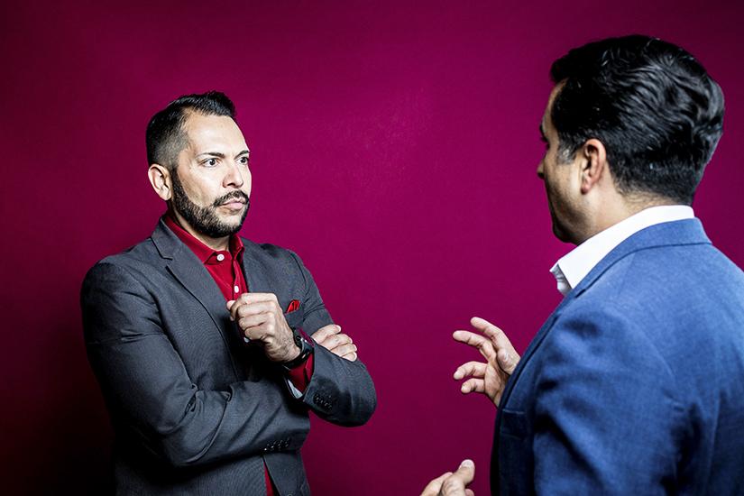 Pedro A. Guerrero and Mark L. Madrid talking