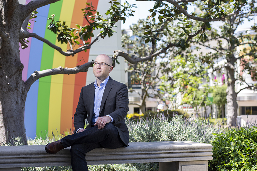 Sean Jaquez, Sony Pictures Entertainment, sitting bench rainbow background