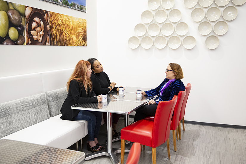 Talita Ramos Erickson meeting with Sherry Cabrales and Kellie Grant about Alleanza, Barilla's ERG, at Barilla America HQ in Northbrook on April 26, 2019