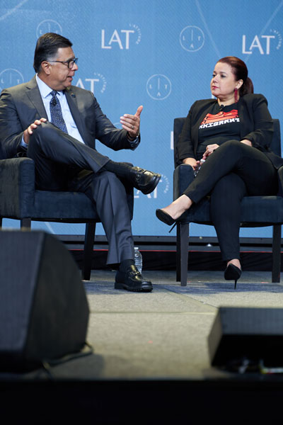 Gary Acosta interviewing Ana Navarro at L'ATTITUDE 2019
