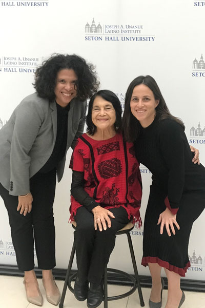 Alicia Menendez and Juleyka Lantigua-Williams with Dolores Huerta at live recording of Latina to Latina podcast