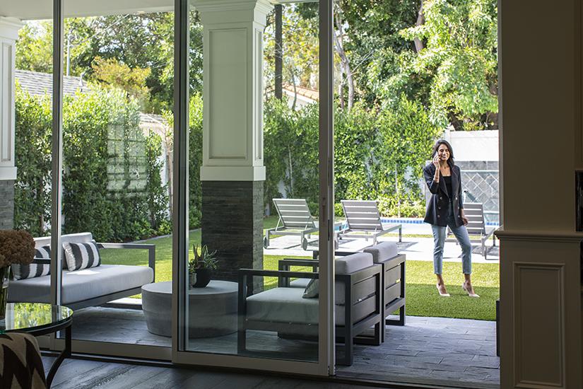 Andrea Trujillo in courtyard