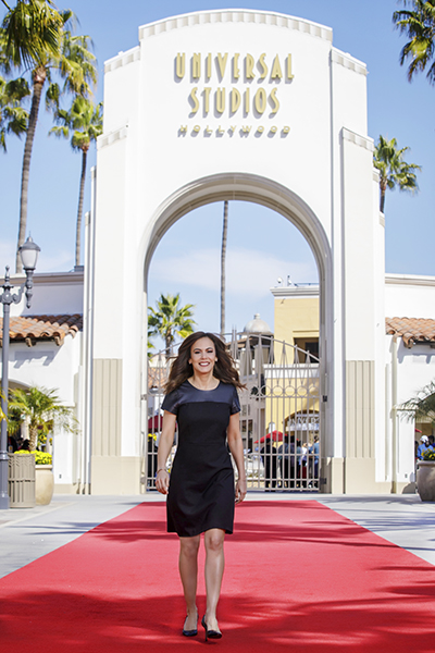Mariela Ure in front of Universal Studios Hollywood entrance